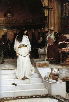 This image is one of Waterhouse's most dramatic paintings. Mariamne was considered to be the favorite of King Herod's ten wives. He supposedly loved her quite dearly, but let false rumours of