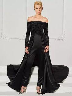 e4e2b737485d 2018 Modest Black Lace Evening Dresses Jumpsuit with Train Plus Size  Off-shoulder Long Sleeve