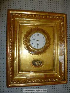 Wanduhr Rahmenuhr Holz vergoldet Gehwerk - Mechanische - Standuhren - Clock, Antiques, Wall, Home Decor, Omega Watch, Grandfather Clocks, Desk Clock, Watch, Antiquities