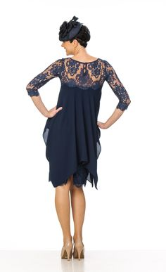c8b559da56 Navy Blue Mother of the Bride  Groom Special Occasion Wear Outfit - Navy  Crepe And