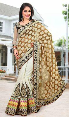 Brown and Cream Chanderi Linen Half N Half Saree Price: Usa Dollar $118, British UK Pound £69, Euro87, Canada CA$126 , Indian Rs6372.