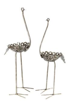Swahili Small Recycled Metal Ostrich Plant Holder