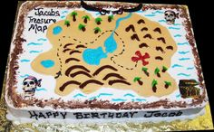 pirate sheet cakes for kids | Treasure Map Birthday Cake. White buttercream iced sheet caked ...