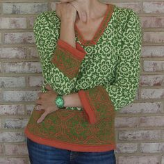 Uber beautiful in green and orange.  Ravelry: Sant'Angelo pattern by Kirsten M. Jensen