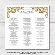 Seating Chart Wedding Seating Chart Template Wedding Seating