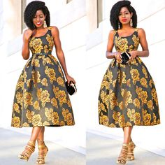 "13.4k Likes, 130 Comments - Folake Huntoon (@stylepantry) on Instagram: ""Golden Rose Midi Dress for daytime. Happy #nye lovers! Link in bio for 'fit details."""