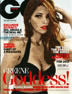 GQ cover December 2012 - This stiched magazine cover was created by Inge Jacobsen which i quite like because of how it not all stitched (only the model is) and the text is easy to read unlike another one she did for vogue. I also really like the shading on the model and think that must of been really hard to do but might consider trying it or looking at a tutorial in the future.