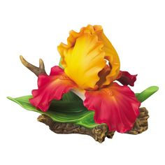Andrea by Sadek Large Yellow with Red Iris Porcelain Flower Figurine |Pinned from PinTo for iPad|