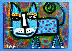 """""""Blue Cat In A Groovy World"""" an acrylic ACEO mini painting by Tracey Ann Finley"""