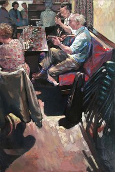 """Hector McDonnell RUA - """"Banjo Players in the Skerry Inn"""" Ken Howard, Irish Art, Banjo, Art Auction, Folklore, Contemporary Artists, Expressionism, Imagination, Celtic"""