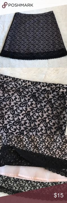 Pure Vida Lace Skirt Side zipper. Approx. 22 in. Pink lining and black lace. Pura Vida Skirts