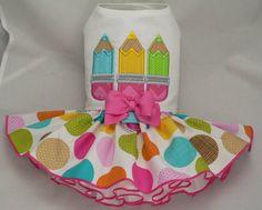 Small dog harness dress. Tutu skirt. Crayons applique by poshdog