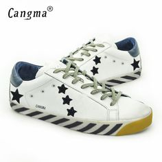 CANGMA Original Italy Deluxe Brand Superstar Daily Shoes Women Genuine Leather Casual White Low Shoes Woman Blancas Calzado 2017