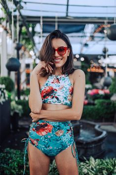 b3422a799f It's paradise by the pool in this Boamar floral high-neck swim top! The