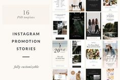 Instagram Stories Templates by Sparrow & Snow on @creativemarket Social media creative design posts for promotion marketing design templates. Use it for quotes, tips, photos, etiquette, ideas, posts or for presentation your business agency, products sales