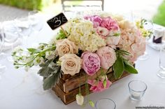 Gorgeous centerpieces, love the wood box, rustic look