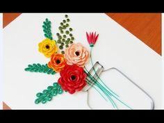 Paper Quilling Flower For beginner Learning Video 22 // Paper Flower Design - YouTube