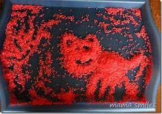 Rice Art - dye rice by putting in jar with a few drops of food coloring and a few squirts of purell.  Let dry overnight.