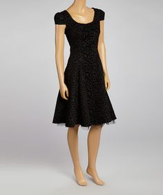 Look what I found on #zulily! Black Leopard Cap-Sleeve Dress - Women by HEARTS & ROSES LONDON #zulilyfinds