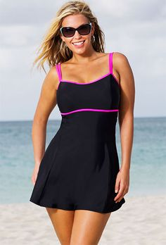 "Beach Belle Cerise Plus Size Lingerie Swimdress Yeah, I'm not ""plus size"" but this is such a cute swimdress!"