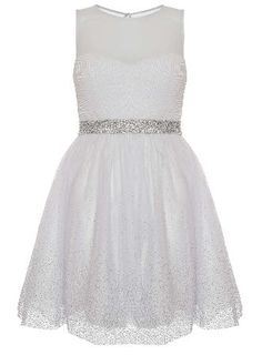 Dorothy Perkins Womens *Quiz Chiffon Glitter Prom Dress- White Chiffon prom dress with diamante waist trim and glitter pattern. Length approx 94cm. 100% Polyester. Cool hand wash. Do not bleach, dry clean or tumble dry. http://www.MightGet.com/january-2017-13/dorothy-perkins-womens-quiz-chiffon-glitter-prom-dress-white.asp