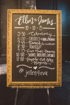 Framed Chalkboard Wedding Schedule Sign