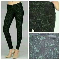 7 for all Mankind Crochet Lace Overlay Skinny Pant BNWT seven 7 for all mankind  7FAM SFAM green/black crochet lace overlay skinny pants leggings jeans. .fit like a skinny jean,  legging but are made of a stretchy material  43% acrylic /29% rayon / 25% nylon / 3% spandex blend.(DEFINITELY NOT DENIM) imo kinda like a nylon meshy Ponte like fabrication. .that is my perception  u mighnt agree Style # AU0150150A? Cut 024226? MSRP $235? AUTHENTIC  Measurements available upon request 7 for all…