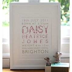 Personalised Girl Birth Print - posters & prints
