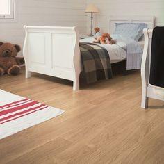 Quick Step Perspective 4 V-Groove White Varnished Oak Planks Best Laminate, Oak Laminate Flooring, Wood Tile Floors, White Laminate, Grey Flooring, Bedroom Flooring, Hardwood Floors, Grey Hardwood, Quickstep Laminate
