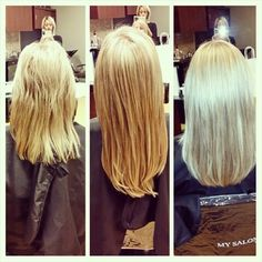 Before and After highlights micro bead extensions and cut them