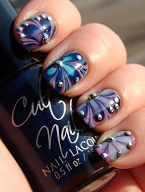 Smashley Sparkles: Cult Nails Water Marble, plus Rhinestones!