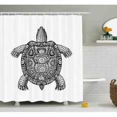 Buy Turtle Shower Curtain, Tribal Patterns On Turtle Illustration  Monochrome Animal Themed