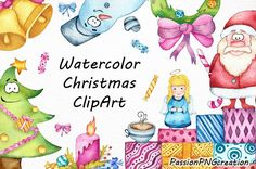Watercolor Christmas clipart transparent background Happy