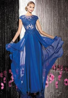 2014 Blue Lace Long Chiffon Gown Evening Dress Formal Prom Cocktail Party Dress