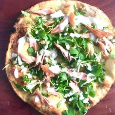 @fforestchief's Hot smoked salmon, rocket, watercress, creme fraiche and horseradish dressing