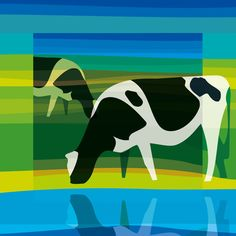 2 cows in a stylistic landscape of lines and planes, fresh green and blue tones: http://www.colorsquare.nl