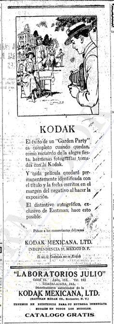 1924 Cámaras Kodak vendidas en Laboratorios Julio - Anuncio publicado en el Informador Guadalajara, Jalisco México