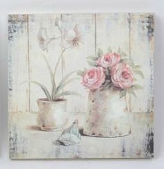 made with pallet - vintage style - decoupage Decoupage Vintage, Decoupage On Canvas, Shabby Vintage, Vintage Roses, Vintage Paper, Vintage Art, Vintage Style, Fleurs Style Shabby Chic, Shabby Chic Decor