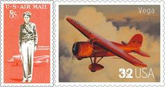 1963 airmail stamp, Amelia Earhart with her Lockheed Electra