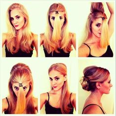 Classic Updo Hair Tutorial Steps : Step 1 : Section the front half of your hair off from the rest of you hair. Secure with Ponytai. Good Hair Day, Great Hair, My Hairstyle, Pretty Hairstyles, Hairstyle Tutorials, Bun Tutorials, Easy Hairstyles, Fashion Hairstyles, Spring Hairstyles
