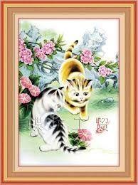 Любопытные котята и бабочка, набор для вышивки крестом (печатная схема на канве, размер канвы 11+бумажный дубликат+ нити+иглы)производство КНР