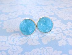 Robin's Egg Blue - Sky Blue Druzy Earrings - Druzy Jewelry By HybridMomentsDesigns