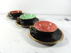 Salins 3 tea / coffee cups and saucers 50 s by frenchvintagedream