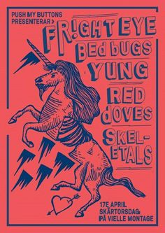 PMB Springbreak! FRIGHT EYE + YUNG + BED BUGS + RED DOVES + SKELETALS #VIELLEMONTANGE #posters #poster #concert #music #illustration #art #event