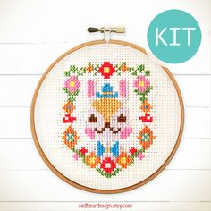 Cute Cross Stitch KIT Mr Bunny Floral Portrait  by redbeardesign
