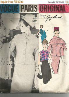 SALE 1960s Guy Laroche Vogue Paris Original Jacket High Waisted Slim Skirt Blouse Scarf Vogue 1207 Bust 34 Label Women's Vintage Sewing Patt on Etsy, $90.75 AUD