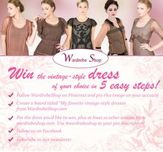 WIN A NATAYA DRESS! Hello ladies and welcome to our spring contest! This is your chance to win the free Nataya vintage-style dress of your choice! Make sure you click the image and follow the steps to sign up! If that link doesn't work for you, click here: http://wardrobe.sh/1AO7hVA