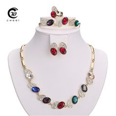 Necklace Set For Women African Beads Imitated Crystal Jewelry Sets Gold Plated Pendant Earrings Bracelets Accessories