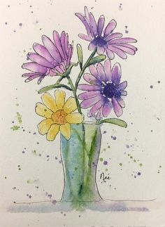 This is an original watercolor painting painted with professional watercolor supplies. The painting is 5.5 x 7.5 and will fit nicely into a standard 8 x 10 frame when matted with a standard 8 x 10 mat. The painting will be sealed in a cellophane sleeve and packaged in a rigid Watercolor Journal, Watercolor Projects, Pen And Watercolor, Watercolor Illustration, Watercolour Painting, Watercolor Flowers, Painting & Drawing, Watercolors, Flower Art