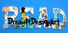 Seussical READ letters Set of 4 by DreamItDesignArt on Etsy Art Classroom, Classroom Activities, Storybook Nursery, Read Letters, Storybook Characters, Baby Shower Presents, Unique Baby Shower, Kids Story Books, Letter Set
